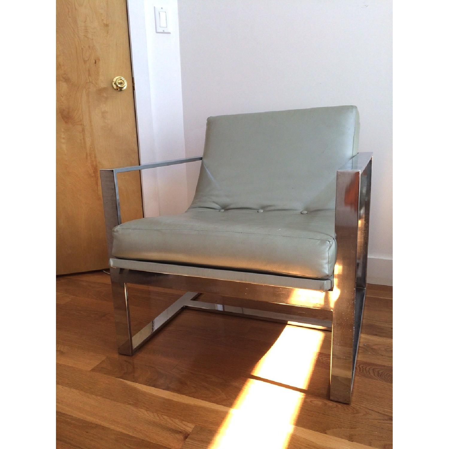 Mitchell Gold + Bob Williams Leather & Polished Steel Armchair - image-1