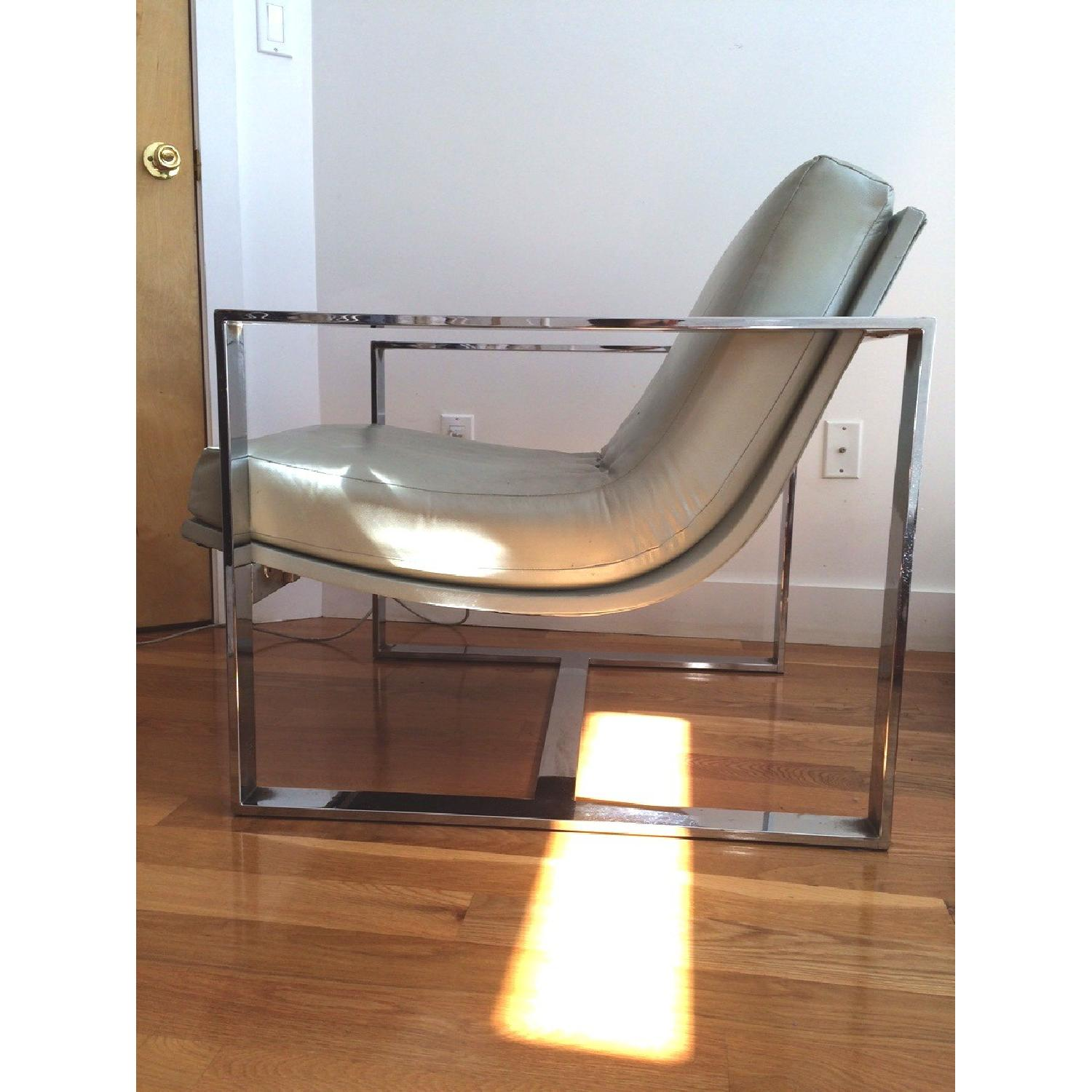 Mitchell Gold + Bob Williams Leather & Polished Steel Armchair - image-2