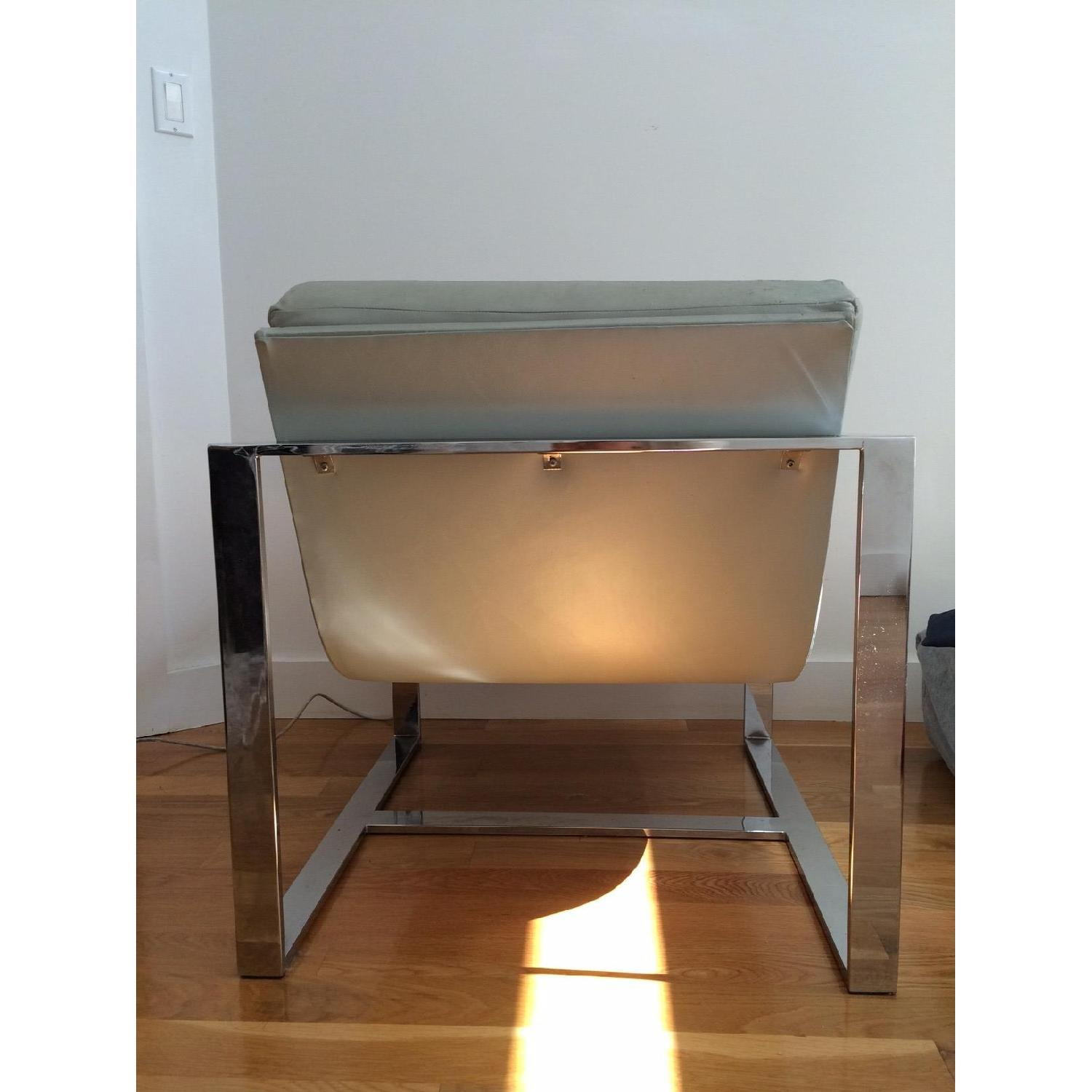 Mitchell Gold + Bob Williams Leather & Polished Steel Armchair - image-3