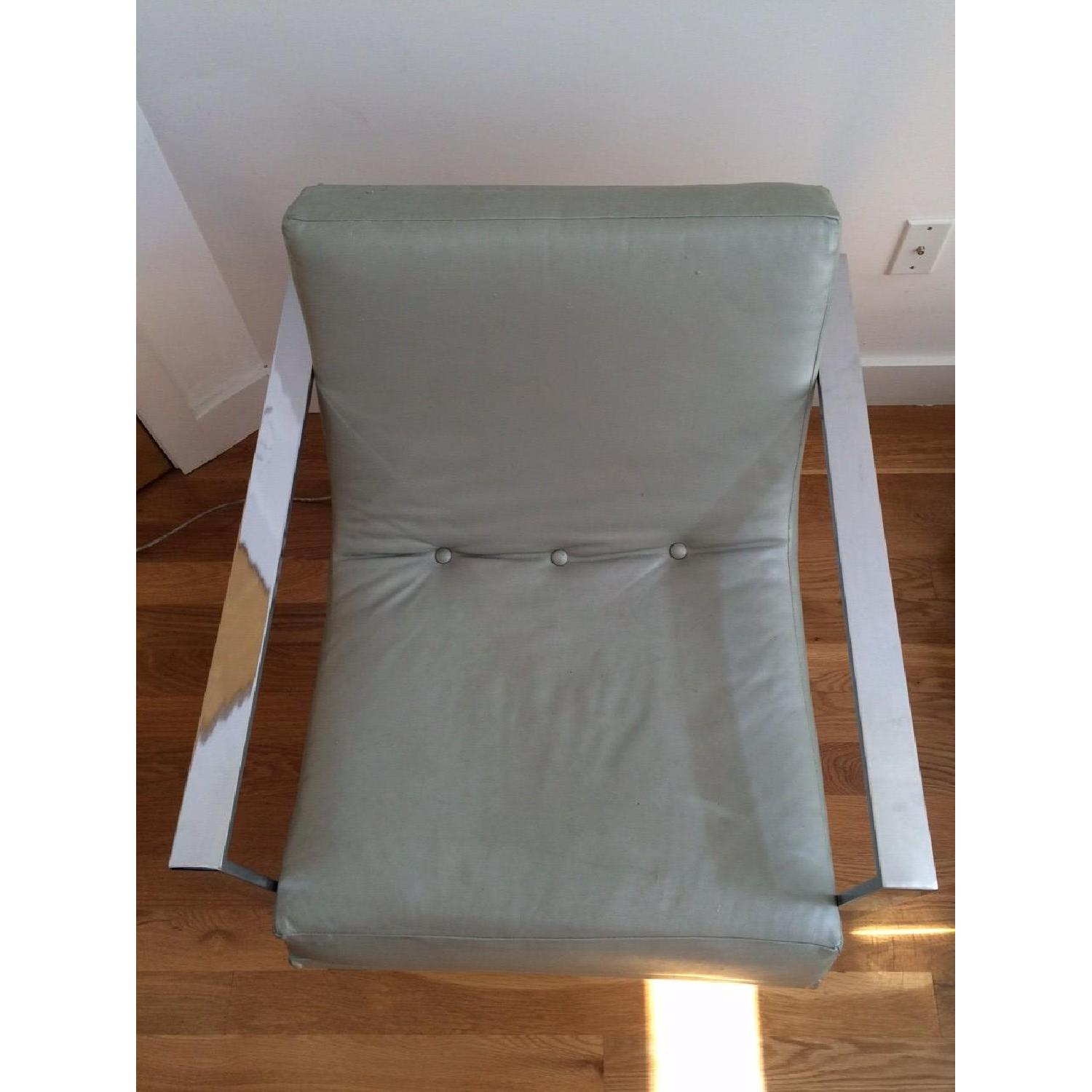 Mitchell Gold + Bob Williams Leather & Polished Steel Armchair - image-4