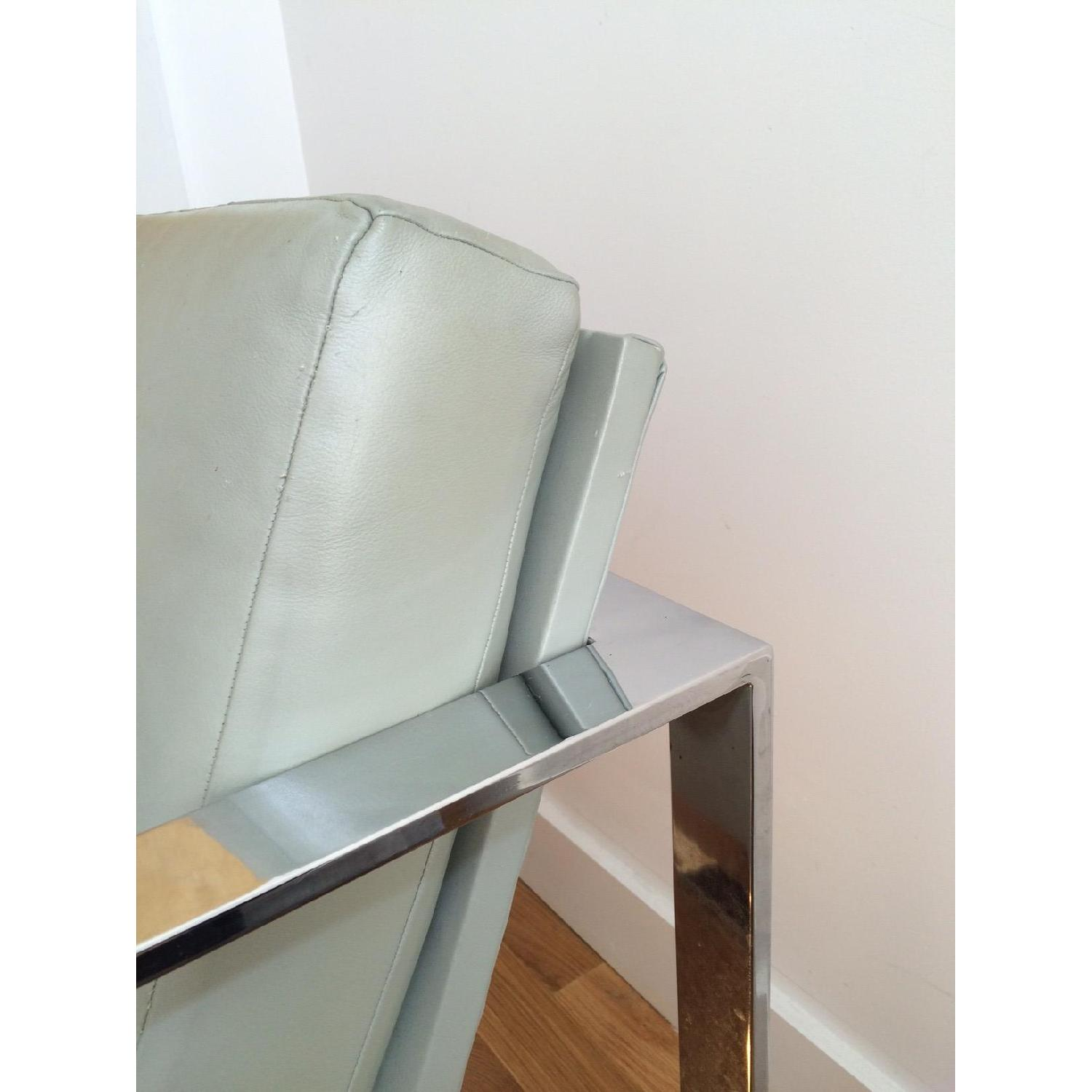 Mitchell Gold + Bob Williams Leather & Polished Steel Armchair - image-5