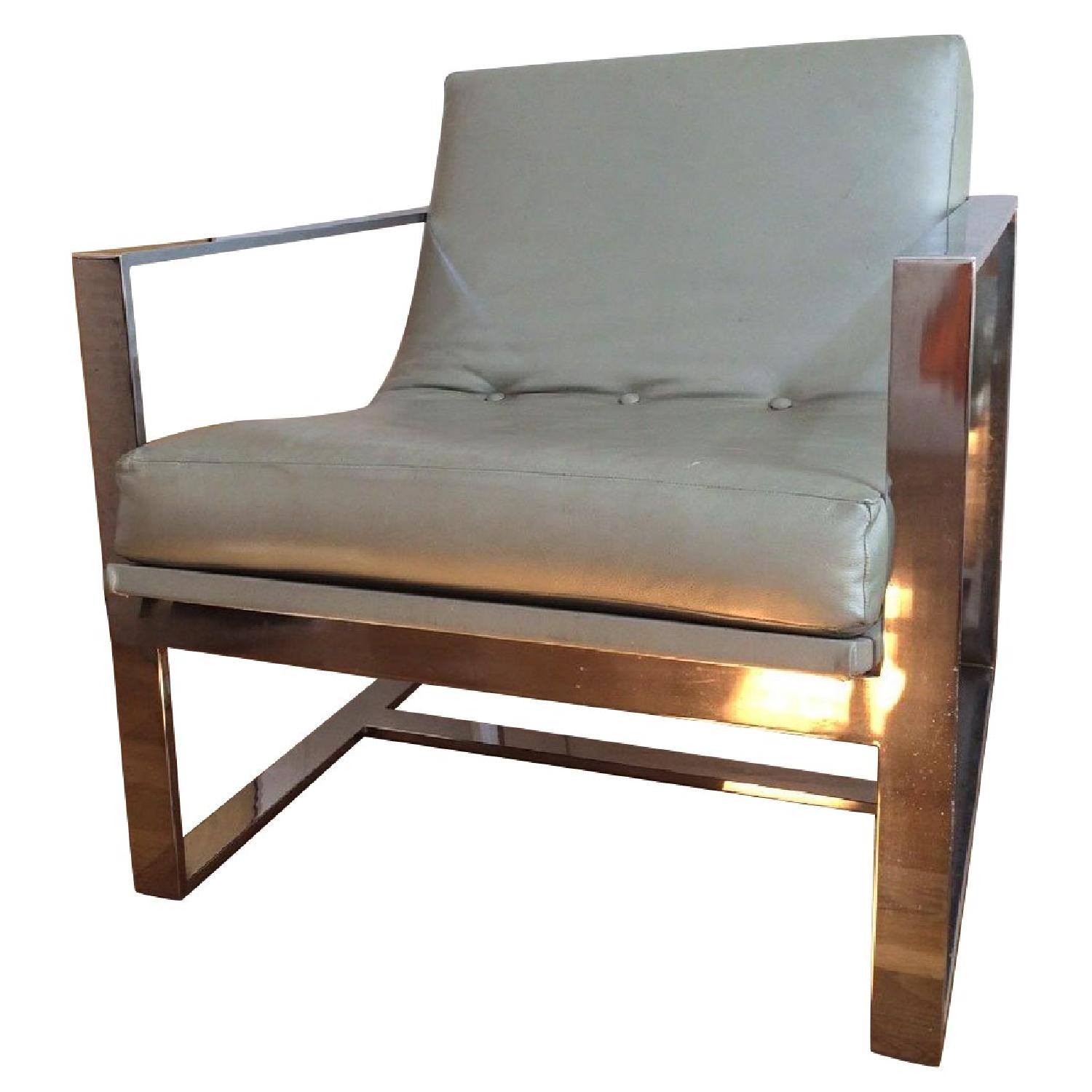 Mitchell Gold + Bob Williams Leather & Polished Steel Armchair - image-0