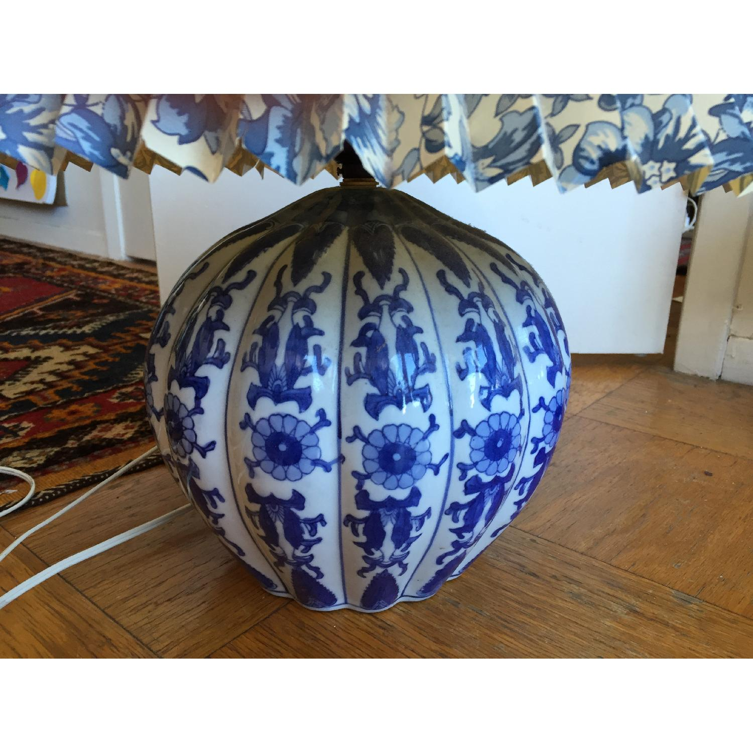 Blue & White Porcelain Table Lamp with Shade - image-2