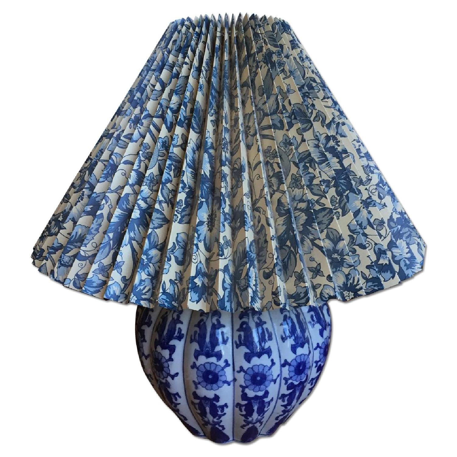 Blue & White Porcelain Table Lamp with Shade - image-0