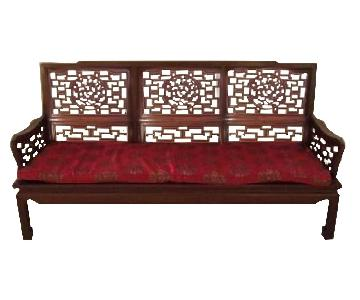 Solid Wood Asian Couch + 2 Chairs + TV Stand/Wall Unit