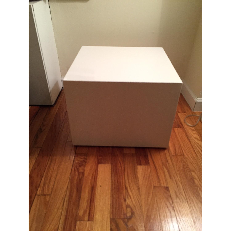 CB2 City Slicker White Side Table - image-1