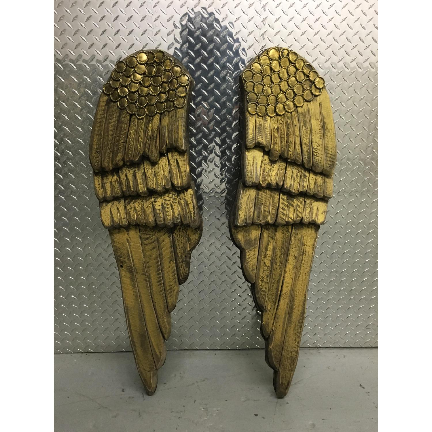 Hand Carved & Painted Wooden Angel Wings - Pair - image-1