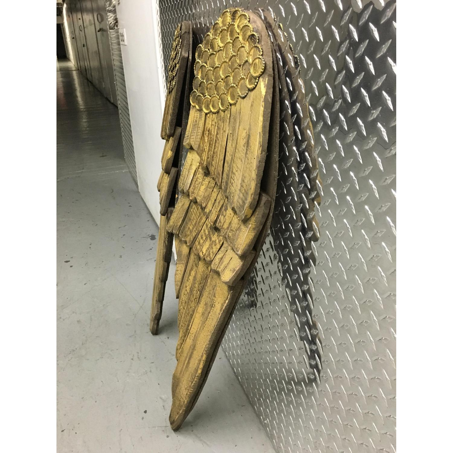 Hand Carved & Painted Wooden Angel Wings - Pair - image-2
