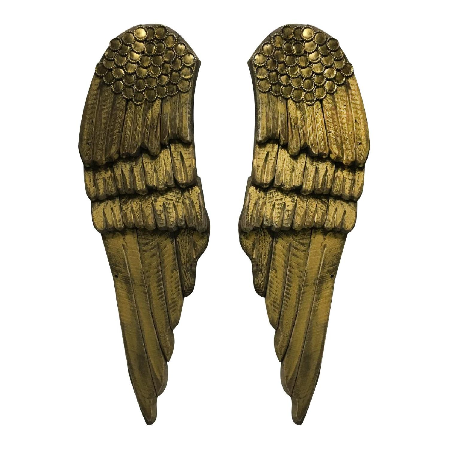 Hand Carved & Painted Wooden Angel Wings - Pair - image-0