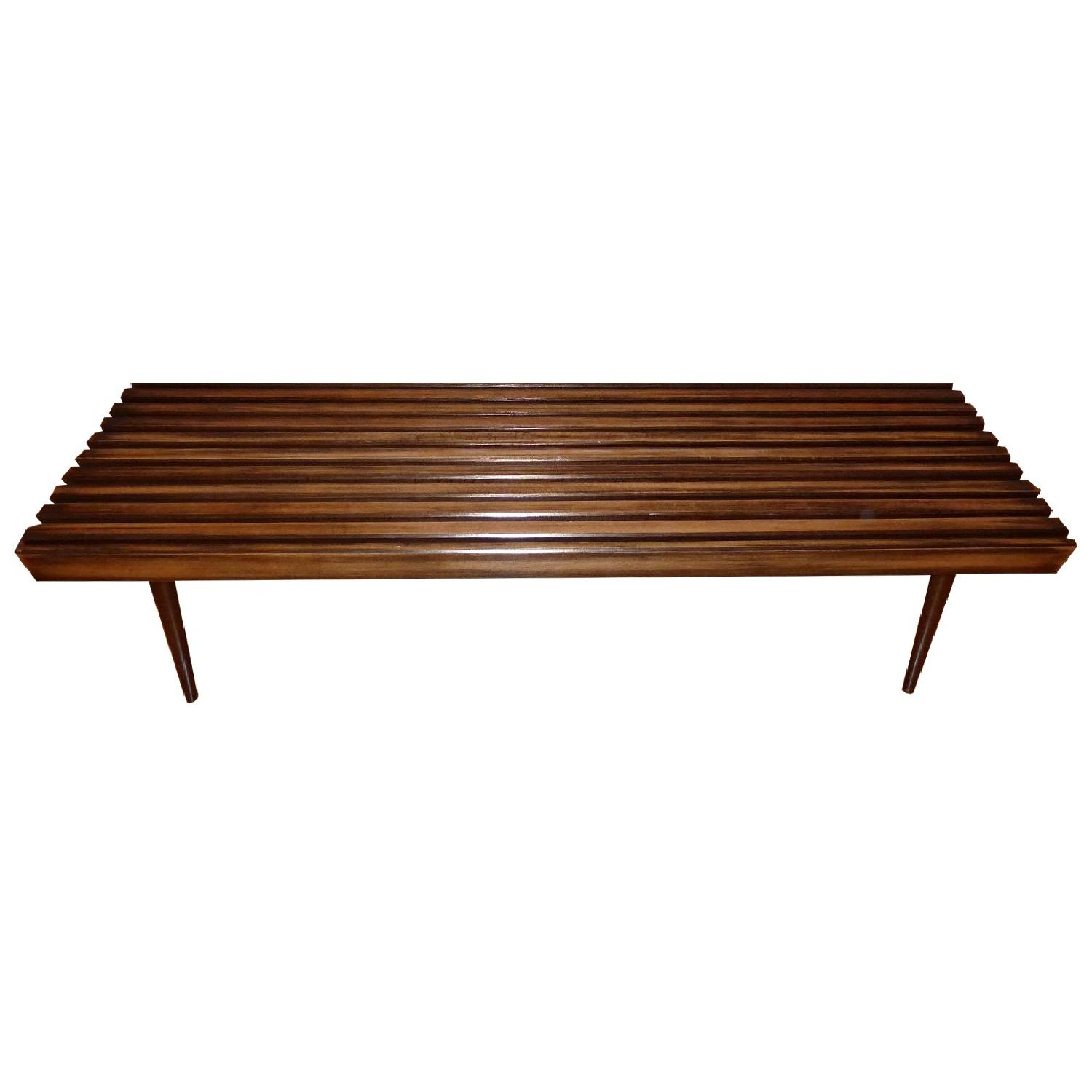 Mid-Century Danish Slat Coffee Table/Bench - image-0