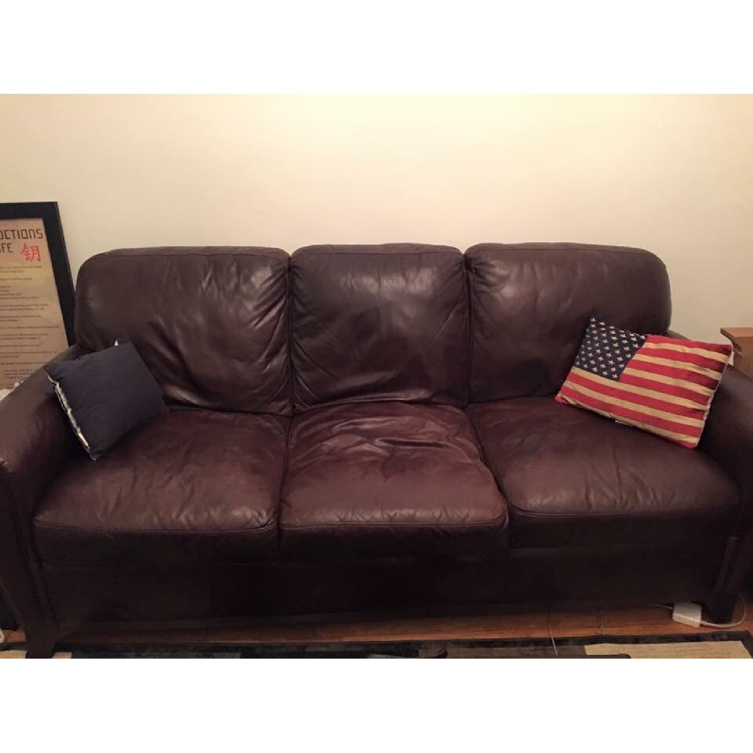 Raymour & Flanigan Jackson Leather Couch - image-1