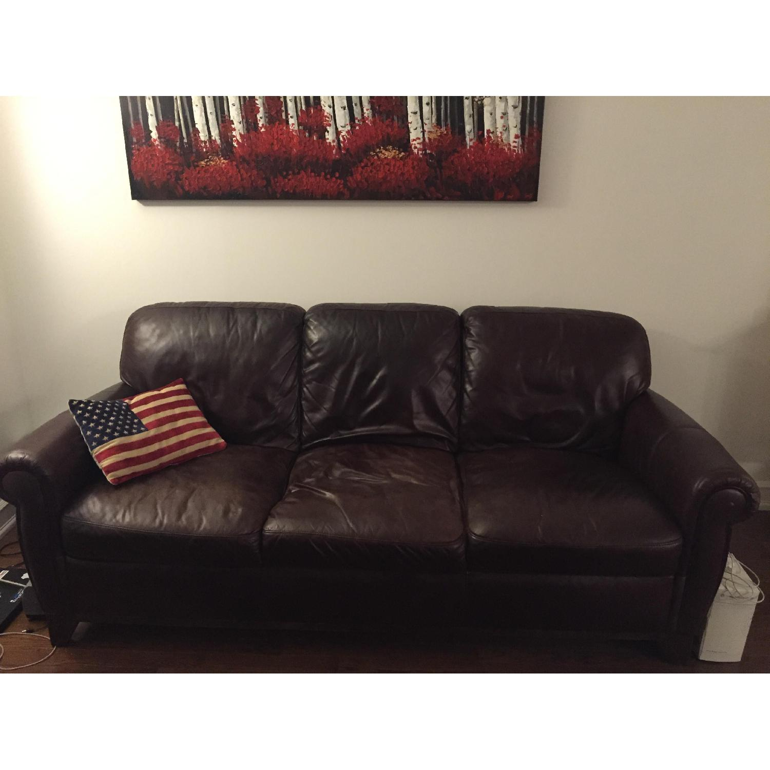 Raymour & Flanigan Jackson Leather Couch - image-2