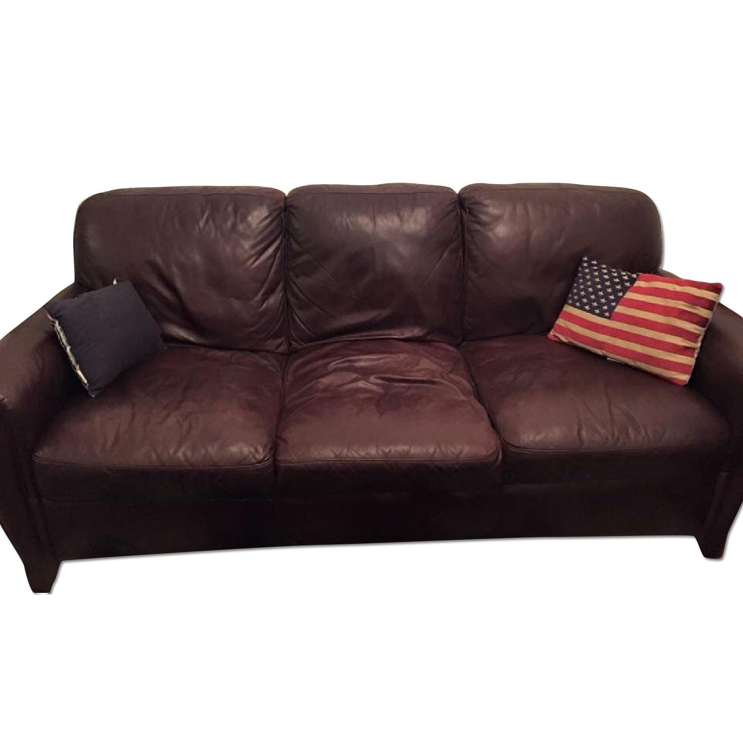 Raymour & Flanigan Jackson Leather Couch - image-0