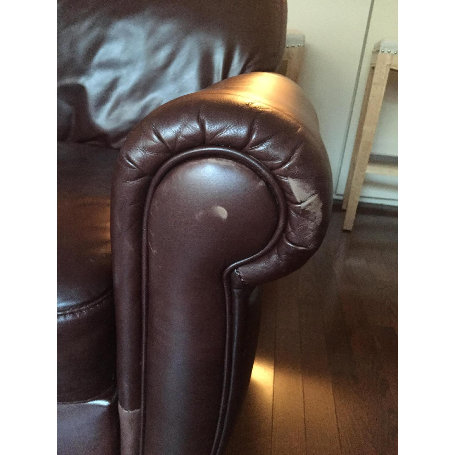 Raymour & Flanigan Jackson Leather Couch - image-5