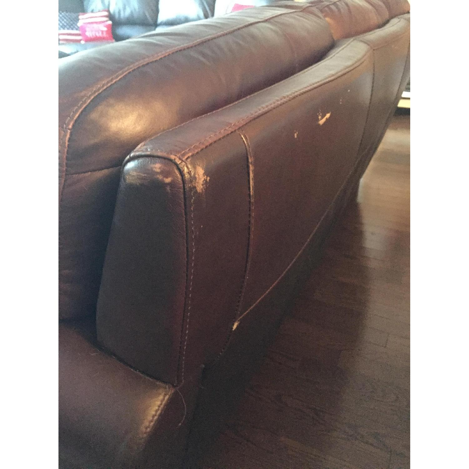 Raymour & Flanigan Jackson Leather Couch - image-6