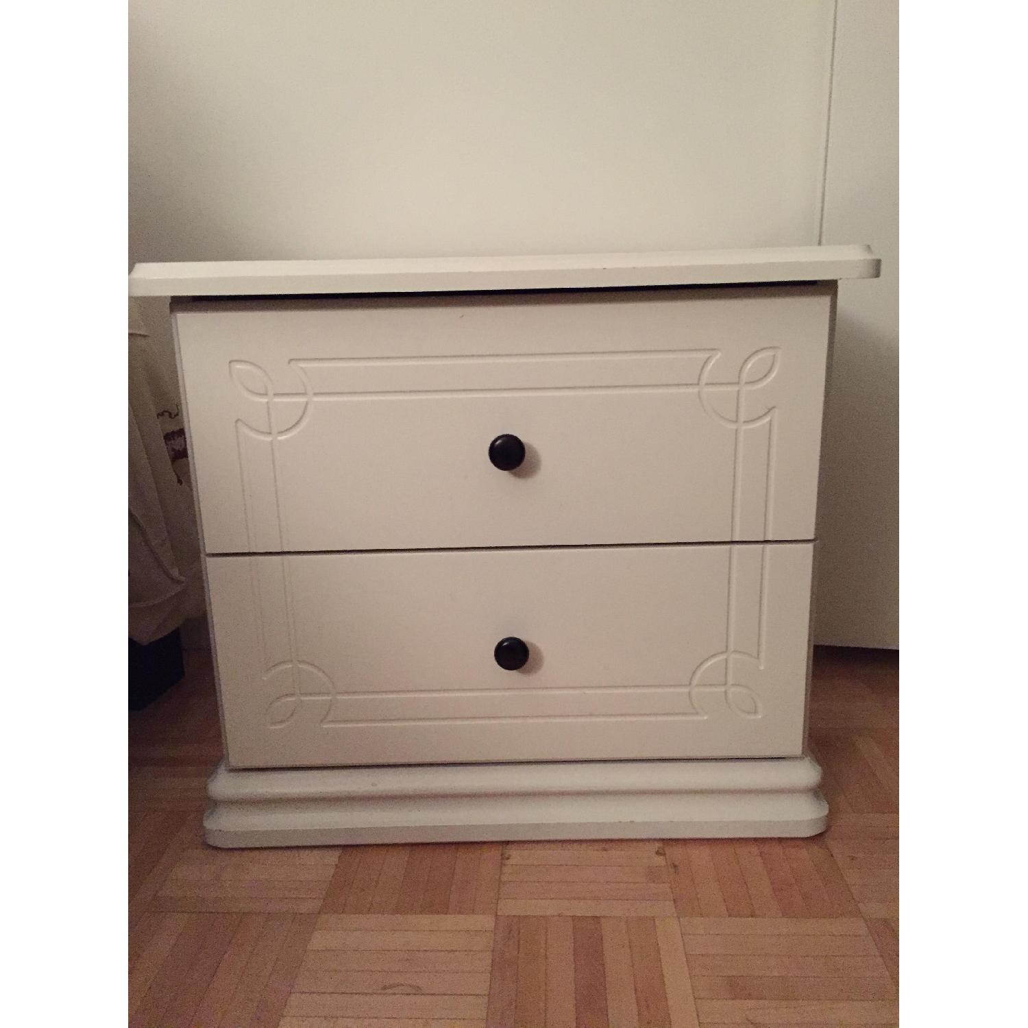 White Solid Wood Nightstand - image-1