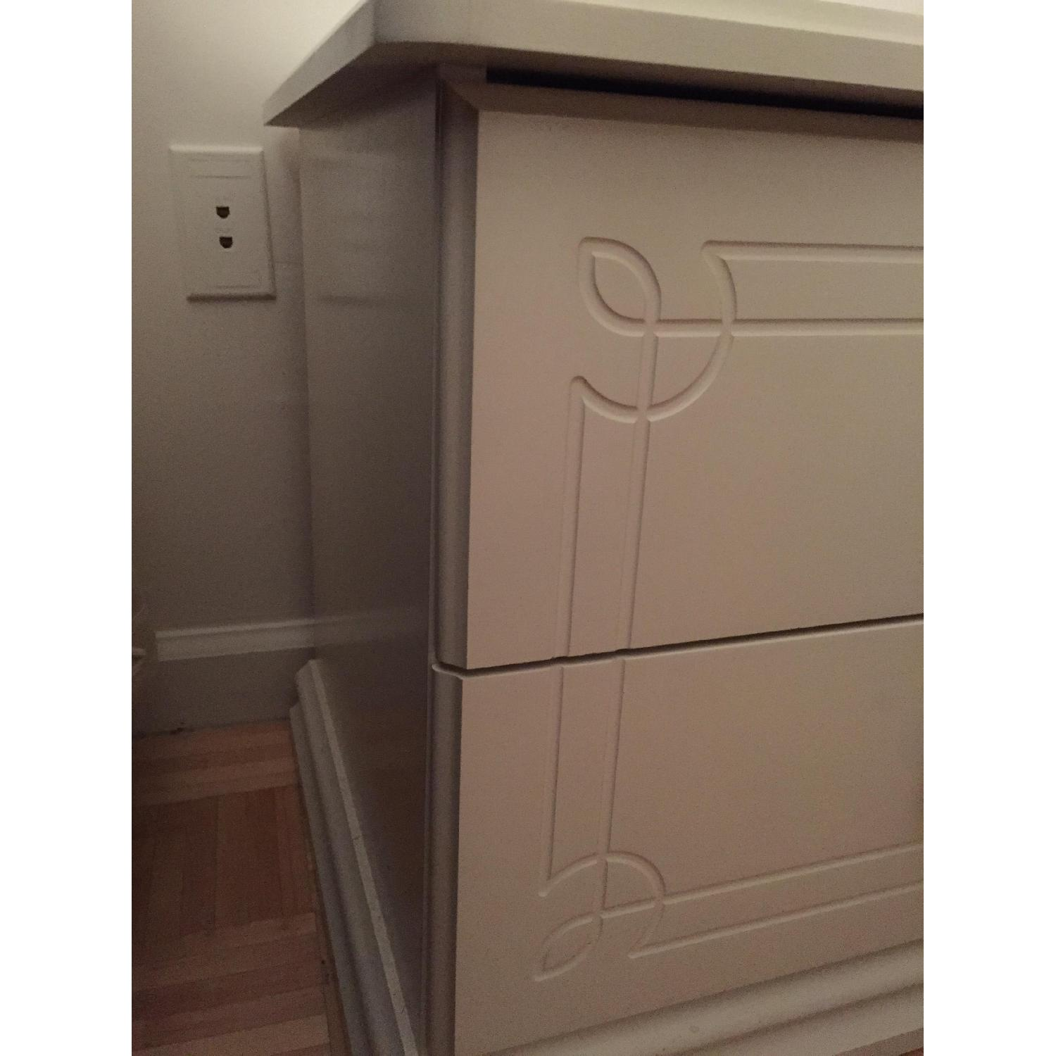 White Solid Wood Nightstand - image-3