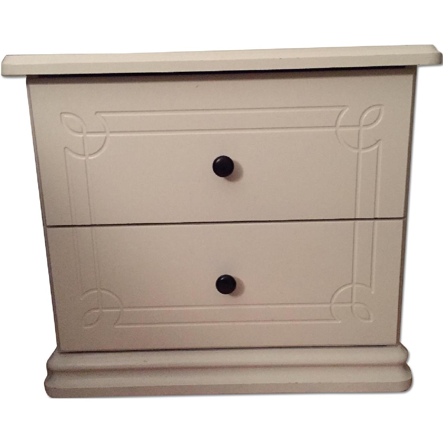 White Solid Wood Nightstand - image-0