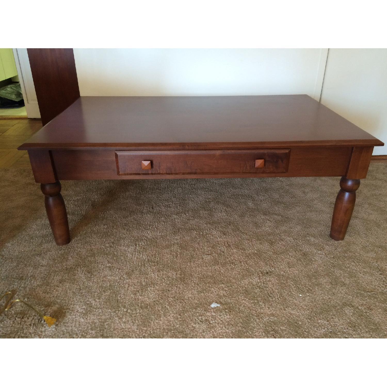 Ethan Allen Walnut Coffee Table w/ Drawer - image-1