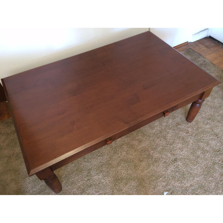 Ethan Allen Walnut Coffee Table w/ Drawer - image-2