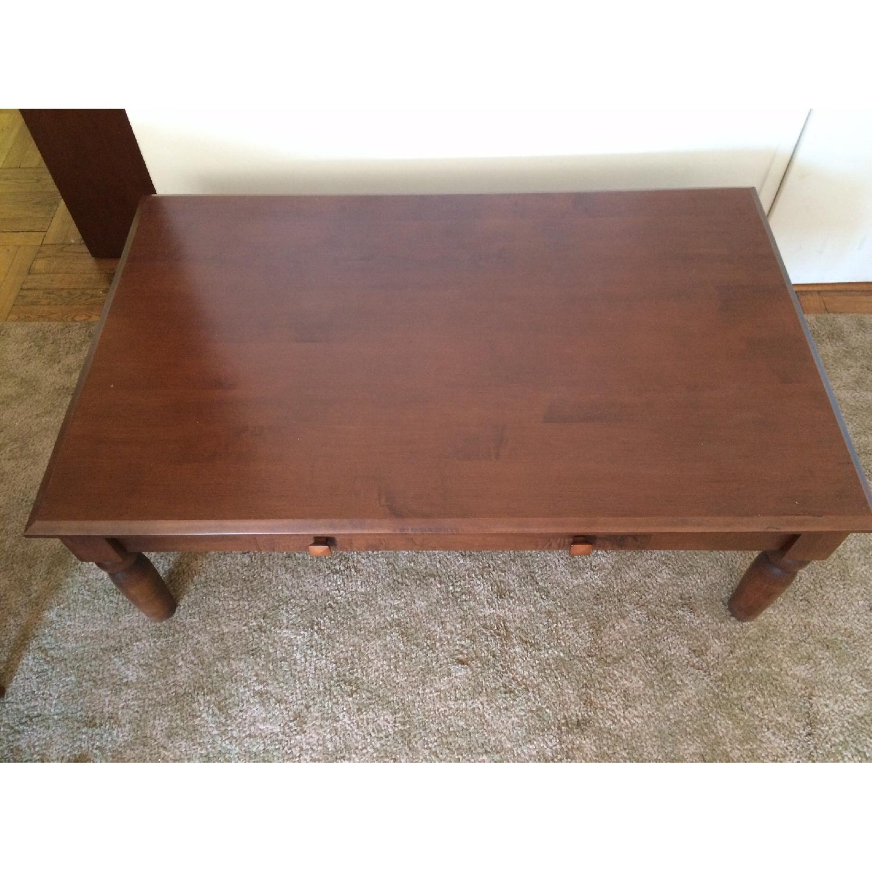 Ethan Allen Walnut Coffee Table w/ Drawer - image-4