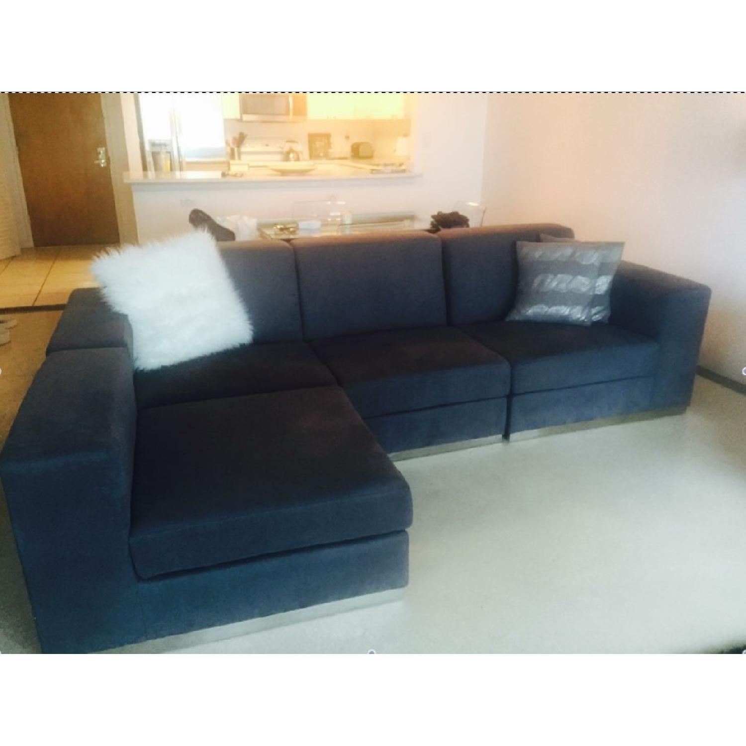 Modani Dark Grey Suede Sectional - image-1