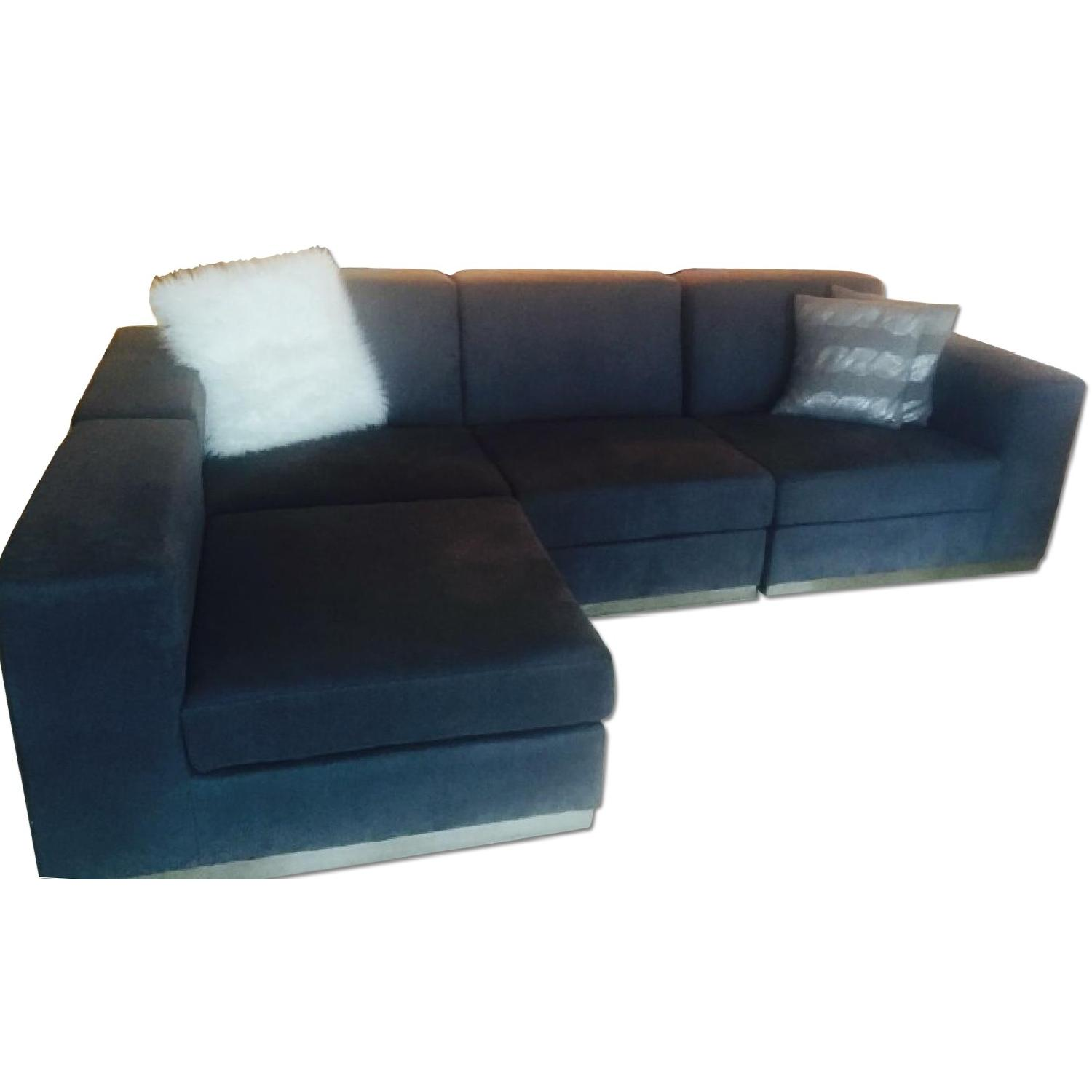 Modani Dark Grey Suede Sectional - image-0