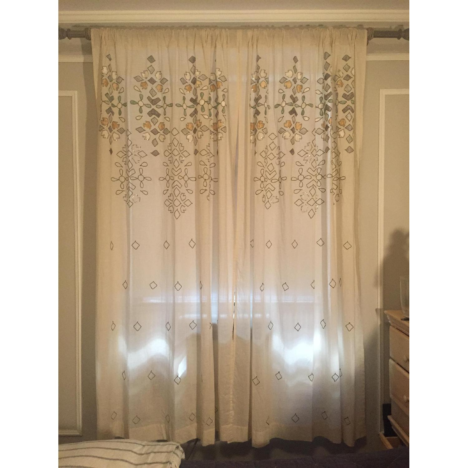 Anthropologie Sequined Window Curtains - Pair - image-1