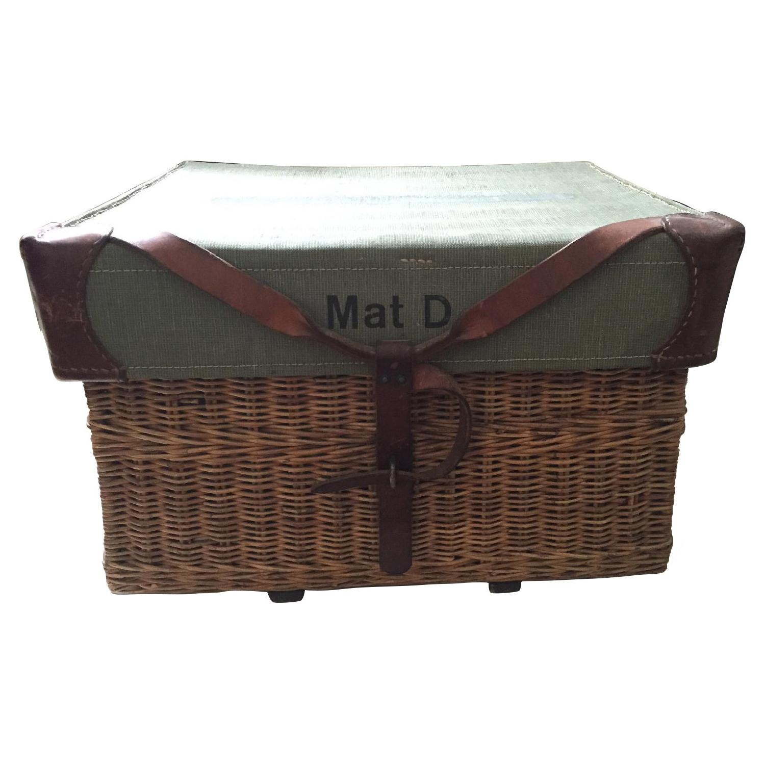 Americana Vintage Leather/Canvas/Straw Trunk - image-0