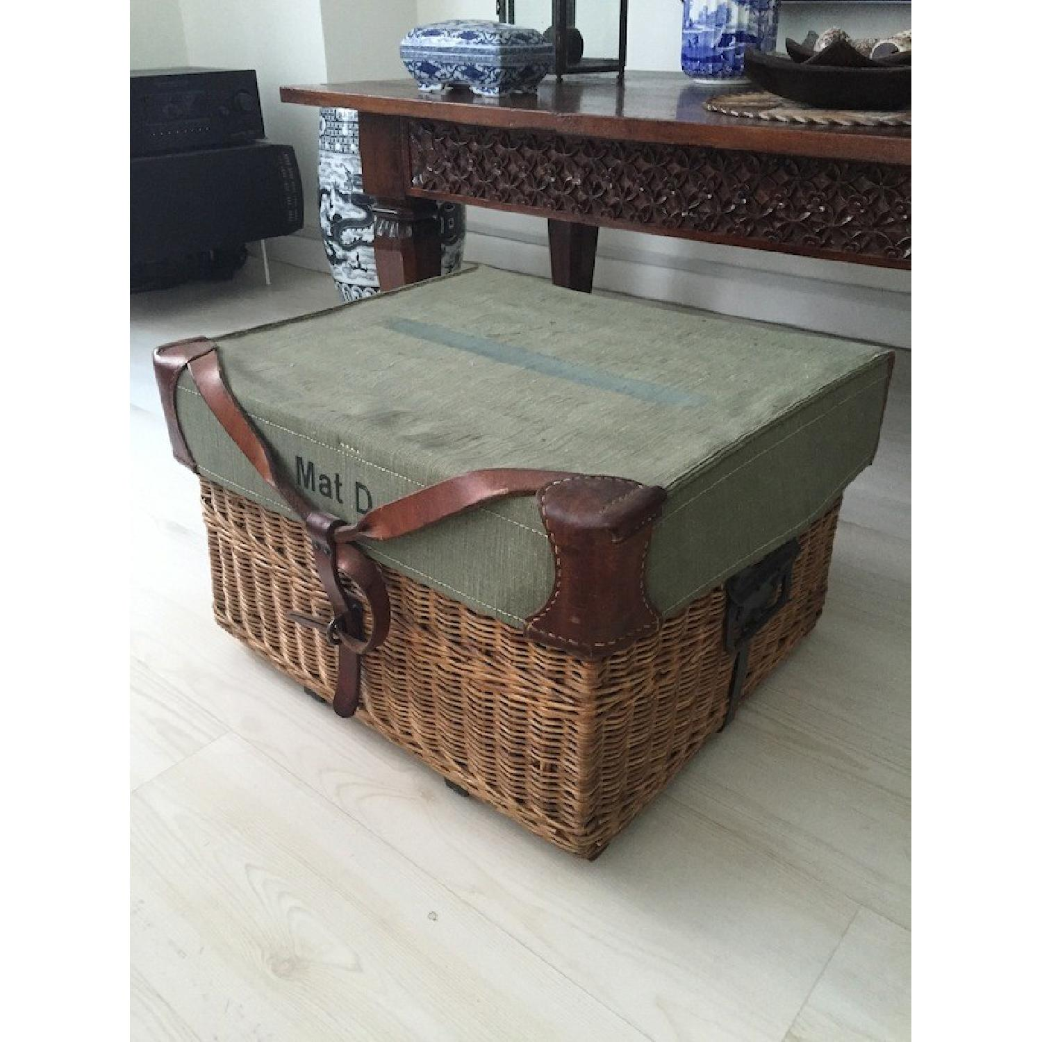 Americana Vintage Leather/Canvas/Straw Trunk - image-1
