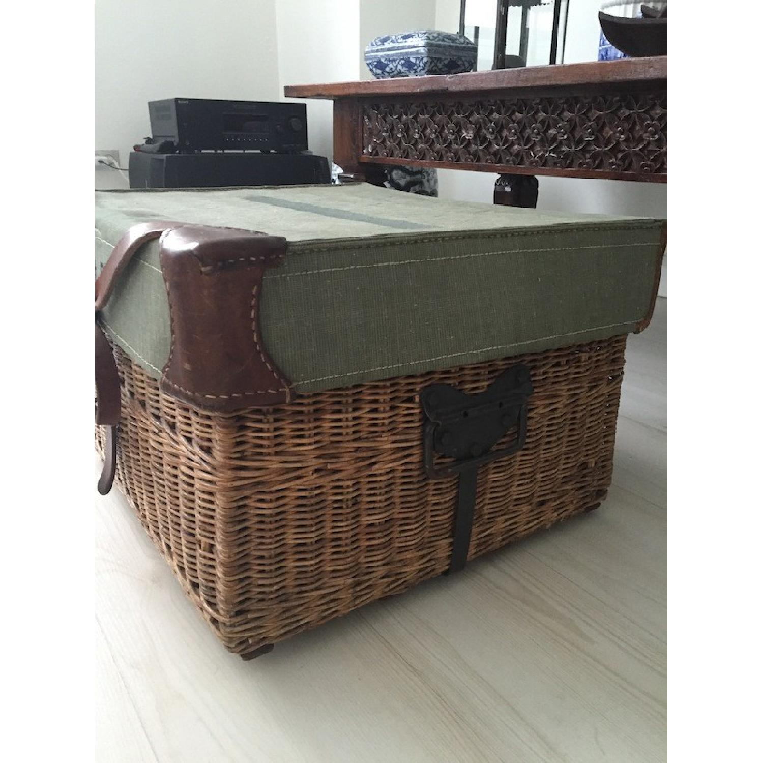 Americana Vintage Leather/Canvas/Straw Trunk - image-2