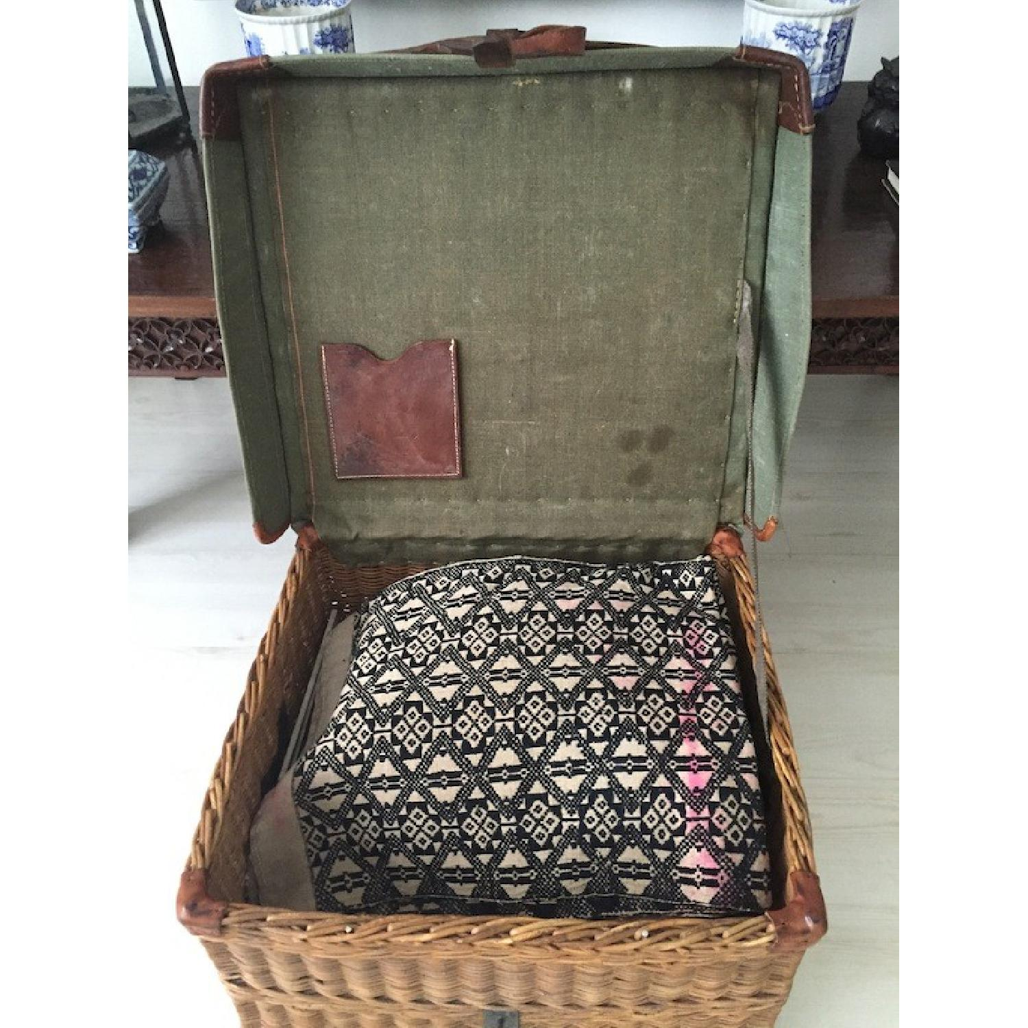 Americana Vintage Leather/Canvas/Straw Trunk - image-4