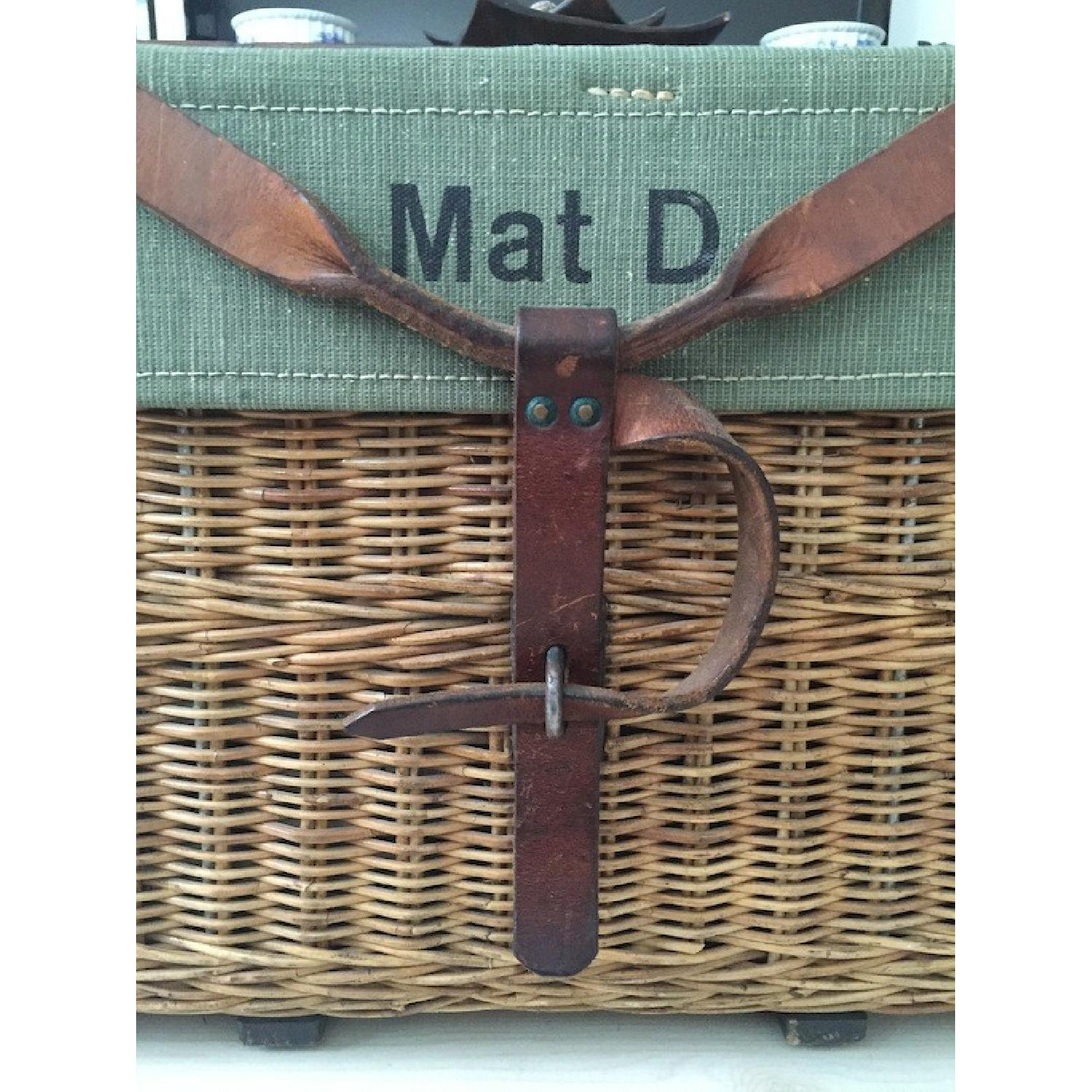Americana Vintage Leather/Canvas/Straw Trunk - image-5