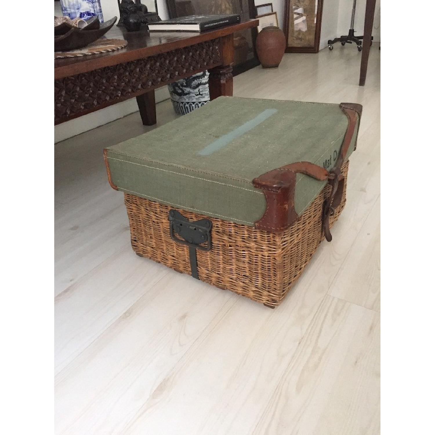Americana Vintage Leather/Canvas/Straw Trunk - image-6
