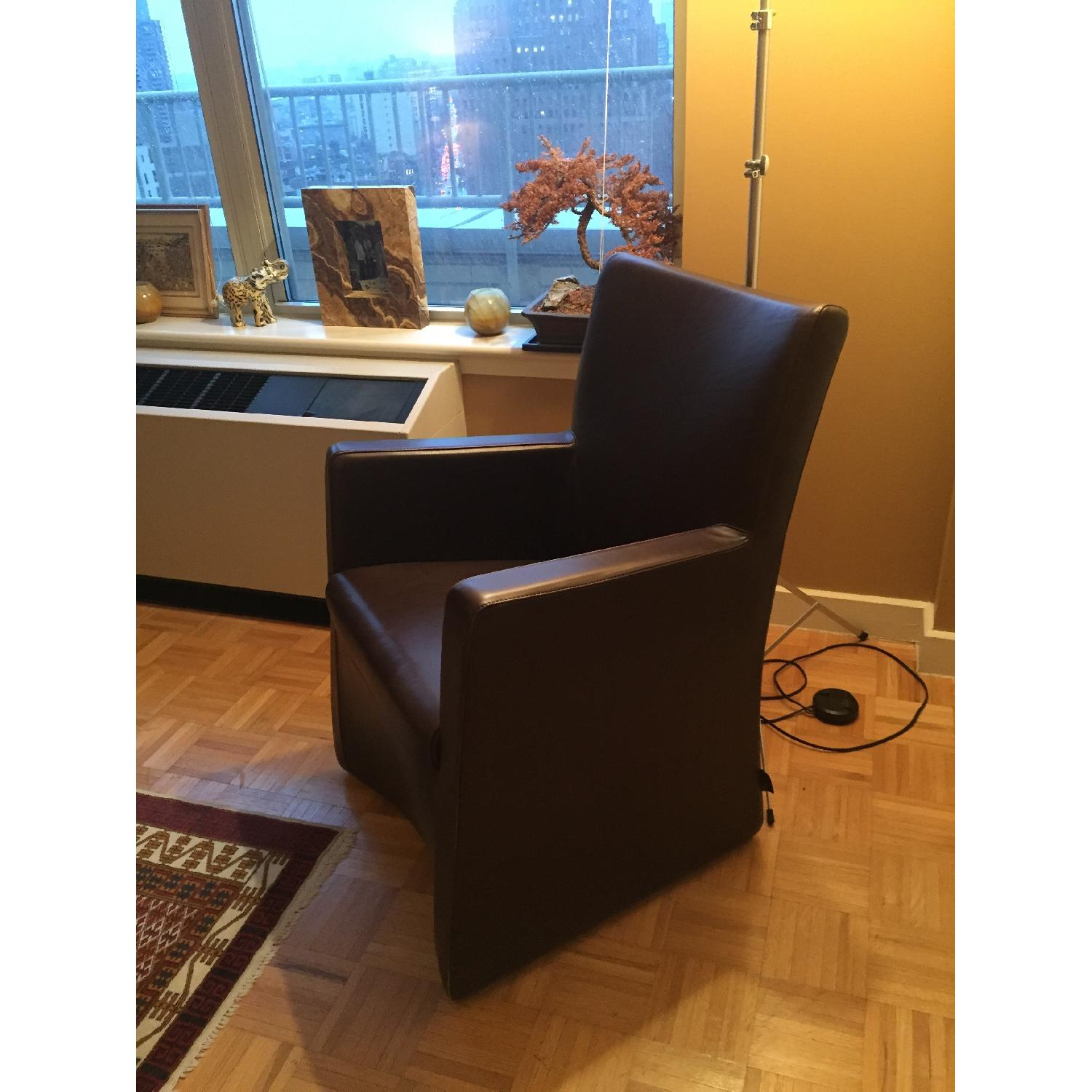 Maurice Vallency Brown Leather Arm Chairs - image-1
