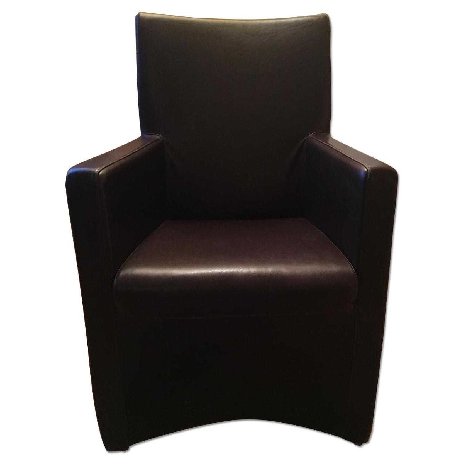 Maurice Vallency Brown Leather Arm Chairs - image-0