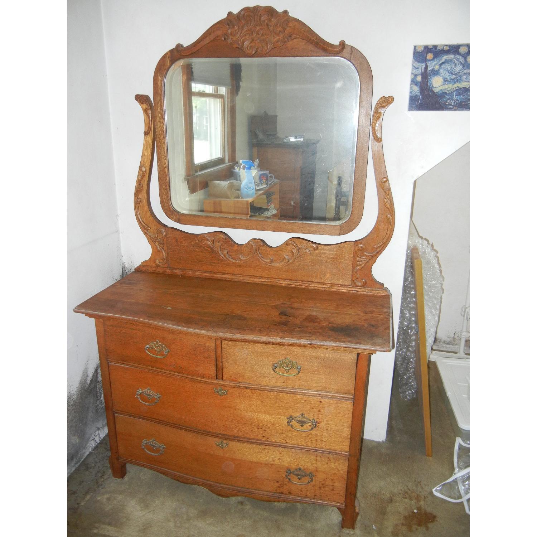 Antique Victorian Dresser with Mirror - image-1