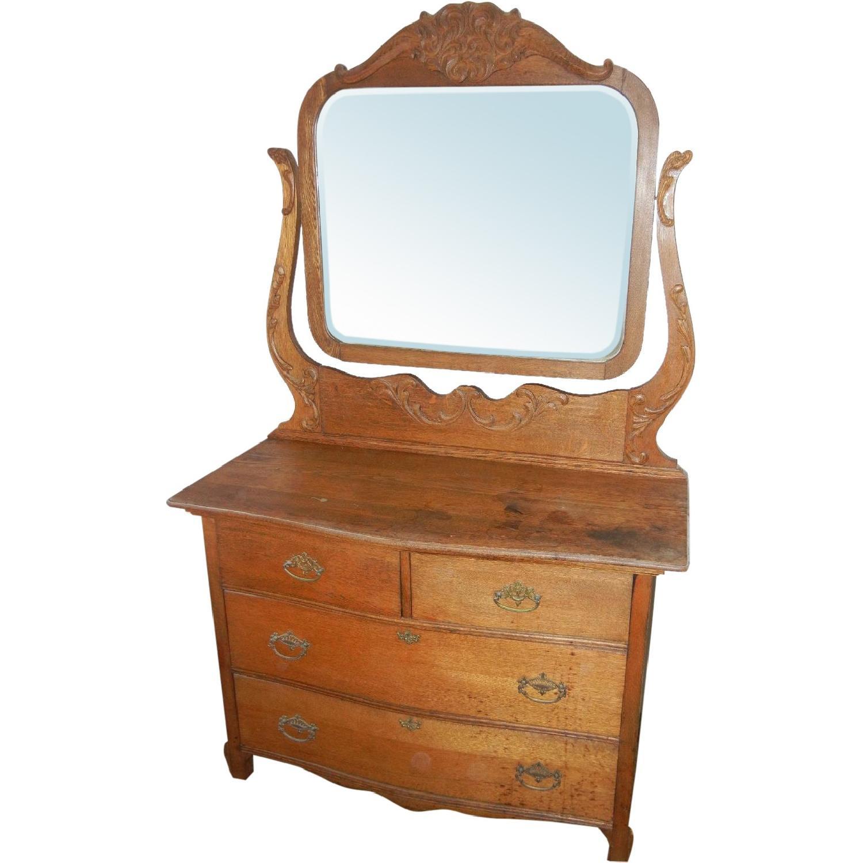 Antique Victorian Dresser with Mirror - image-0