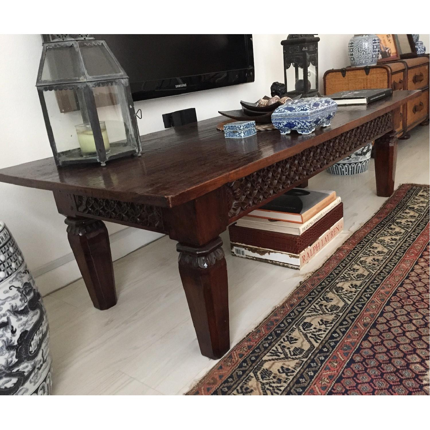 Hand Carved Wooden Table - image-3