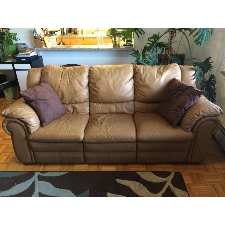 Contempo Dual-Recliner Leather Sofa - image-1