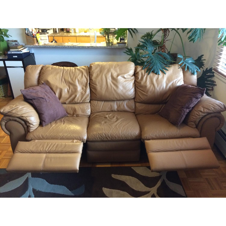 Contempo Dual-Recliner Leather Sofa - image-5