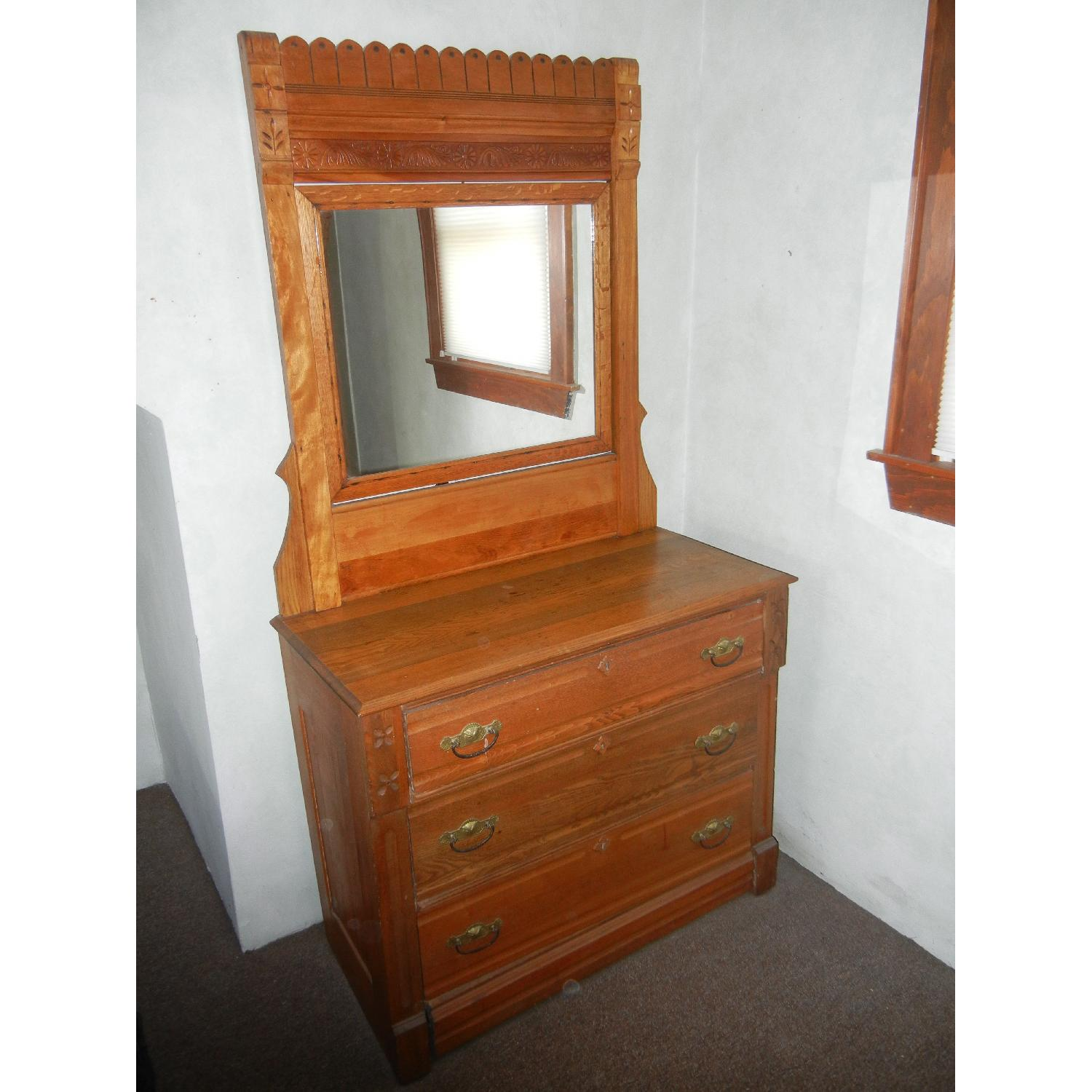 Antique East Lake Dresser with Mirror - image-1