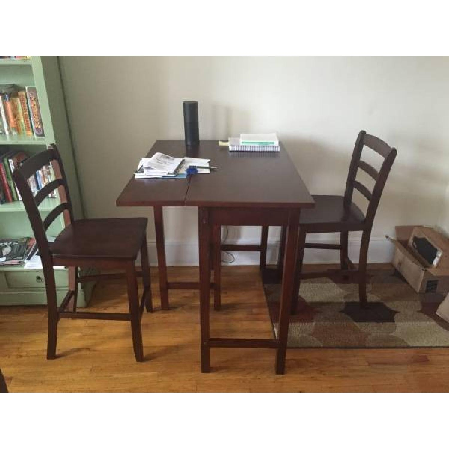Dark Wood Extendable Table w/ 2 Chairs - image-1