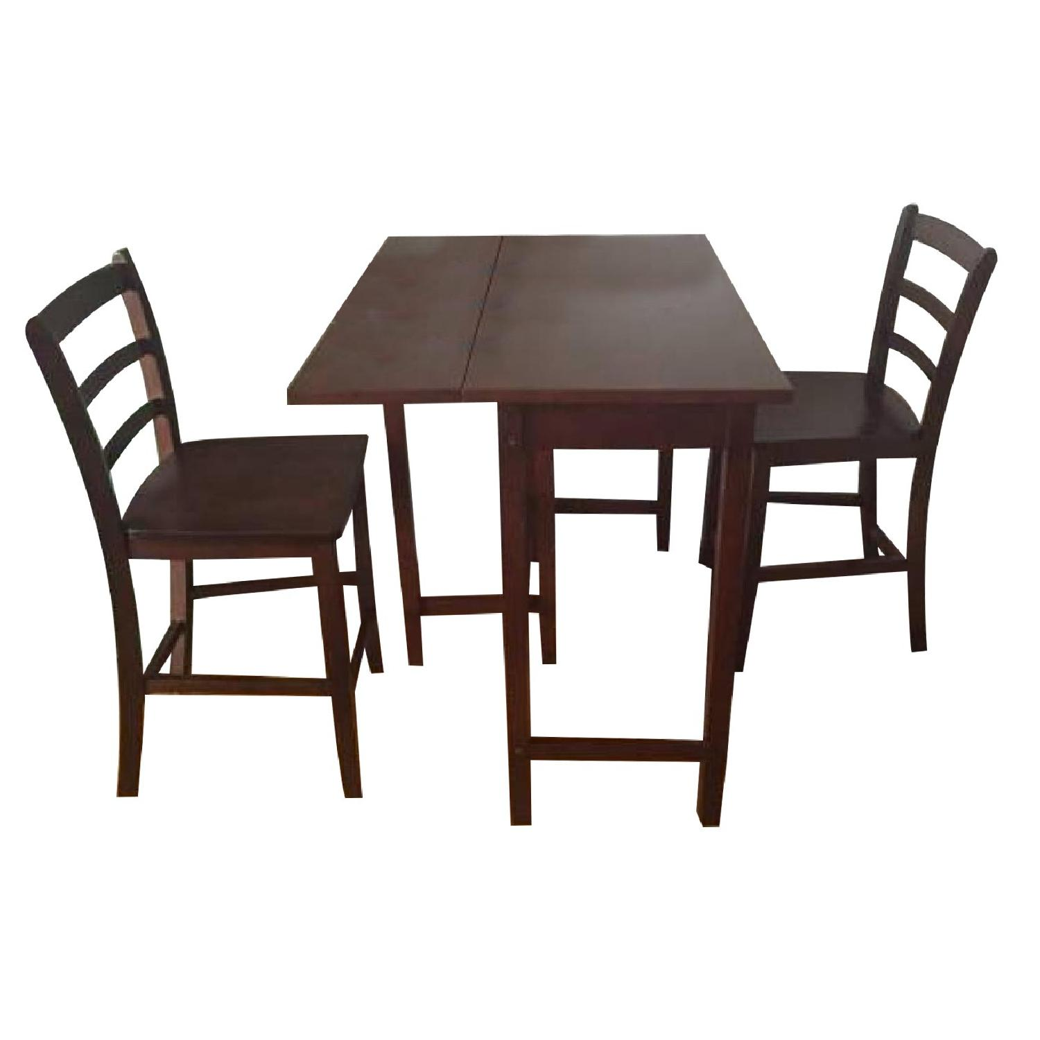 Dark Wood Extendable Table w/ 2 Chairs - image-0