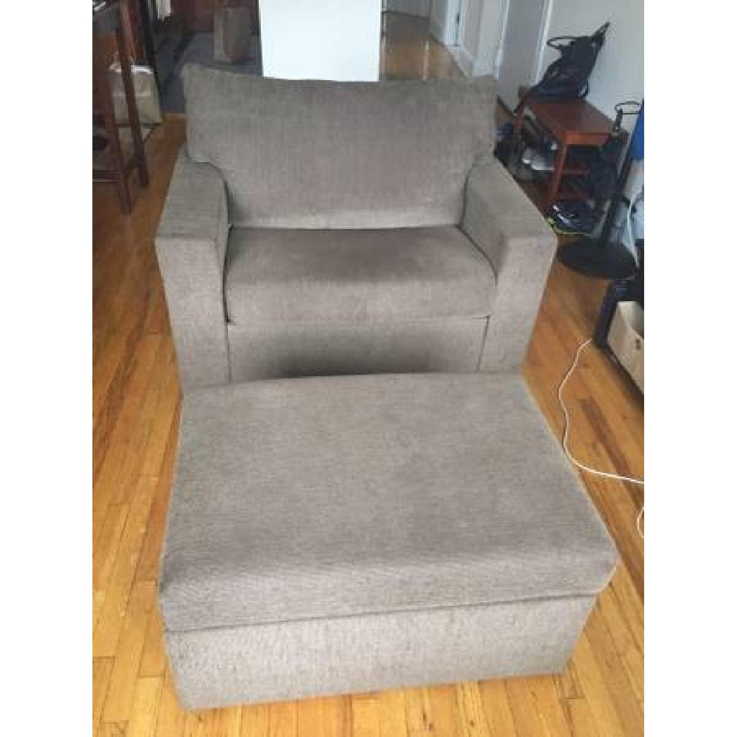 Brown Oversized Chair w/ Ottoman - image-1