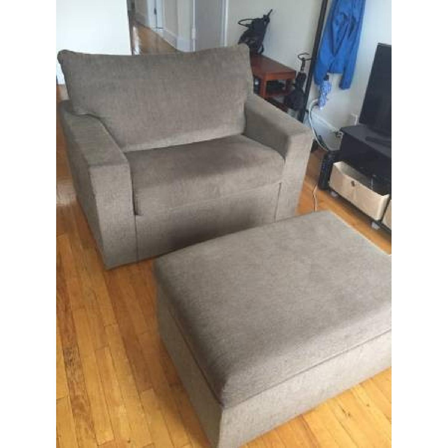 Brown Oversized Chair w/ Ottoman - image-2