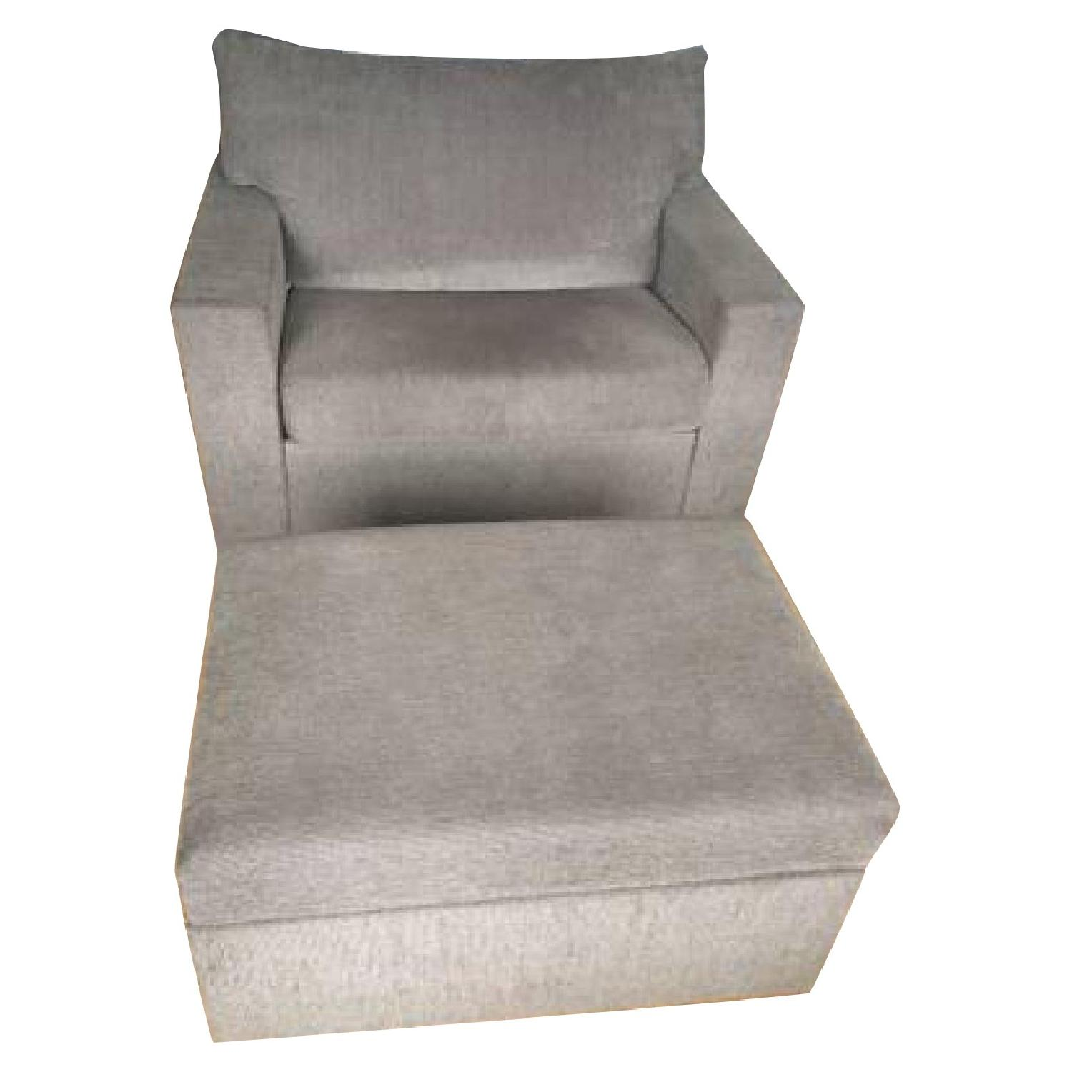 Brown Oversized Chair w/ Ottoman - image-0