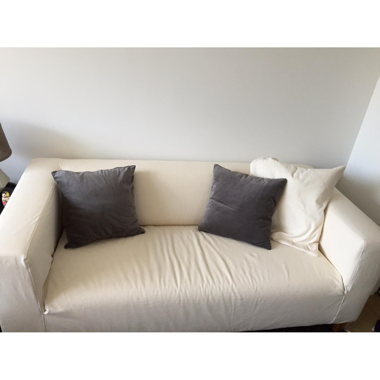 Ikea Klippan Loveseat w/ Natural Canvas Slipcover - image-1