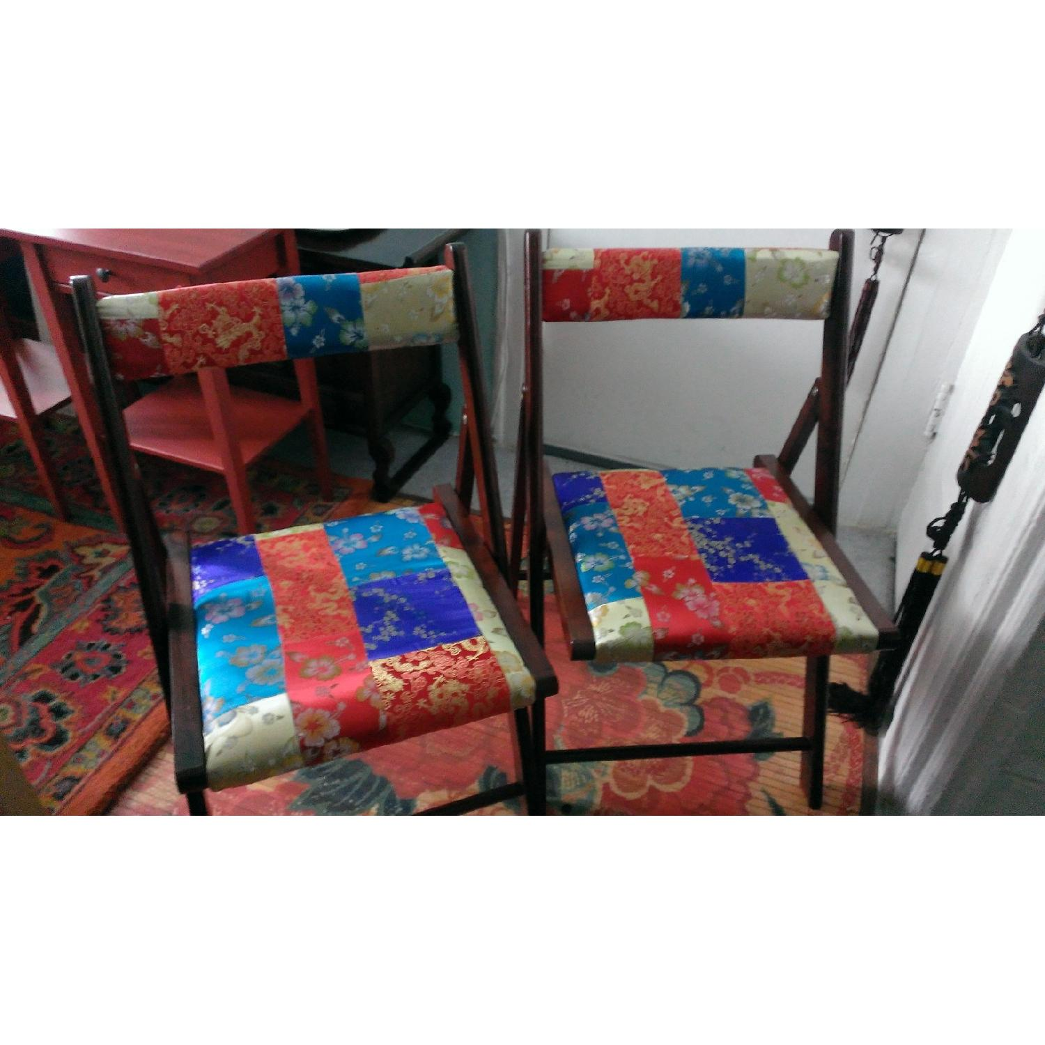 Pier 1 Brocade Folding Chairs - Pair - image-1