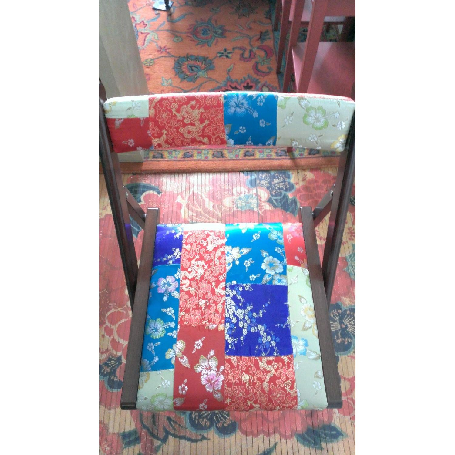 Pier 1 Brocade Folding Chairs - Pair - image-3